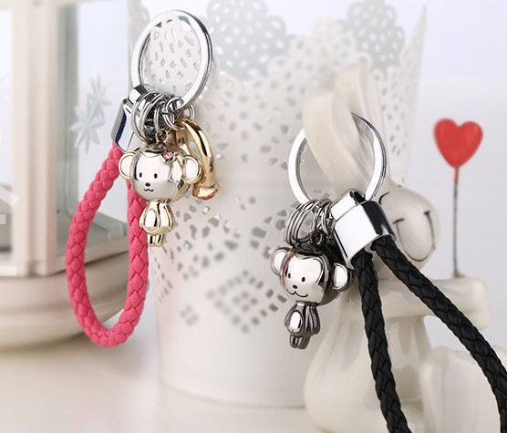Zinc alloy monkey couple keychains