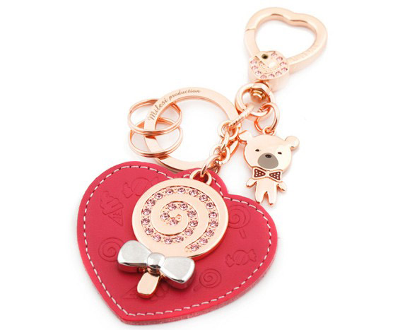 Heart leather keychain