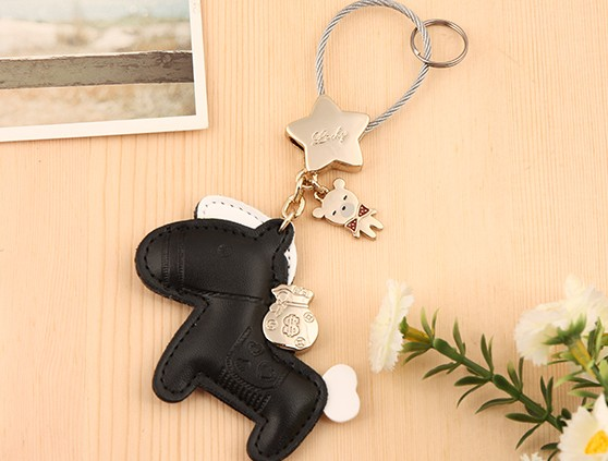 Horse leather keychain