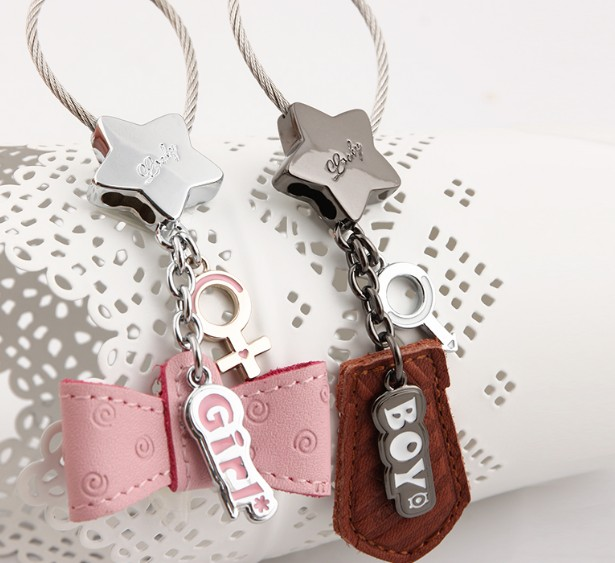 Creative couple leather keychains