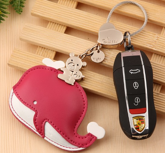 Whale leather keychain