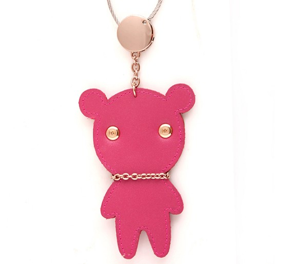 Wearing glasses bears lovers leather keychains