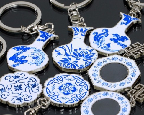 Chinese style blue and white porcelain keychain