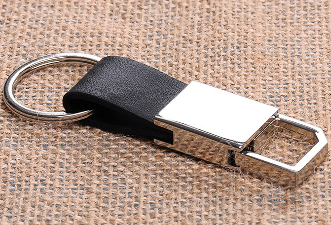 Leather + alloy classic keychain