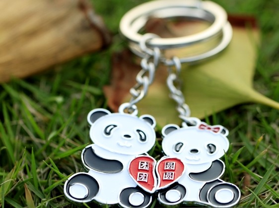 Cute pandas couple keychains