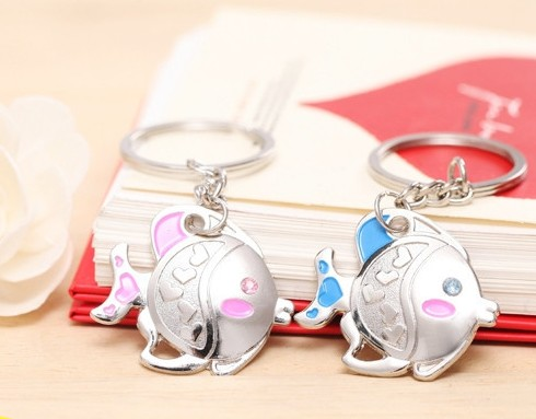 Cute little fish couple keychains