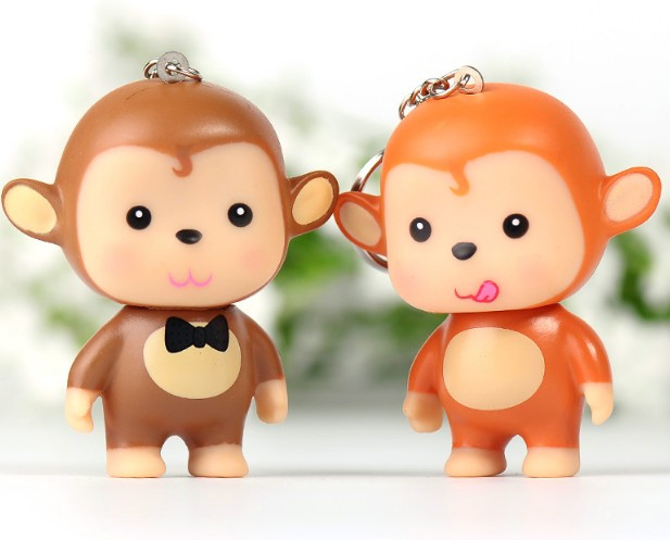 PVC small monkey keychain