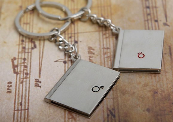 Love diary couple keychains