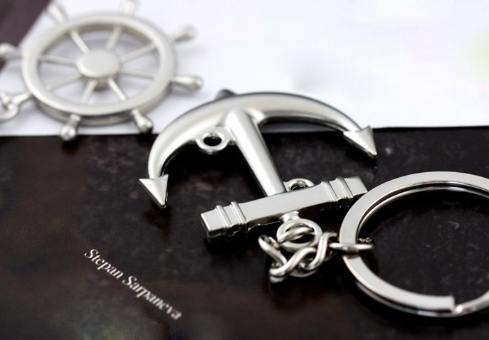 Rudder and anchor couple keychains