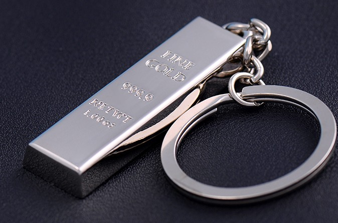 Gold bar and silver bar alloy keychain