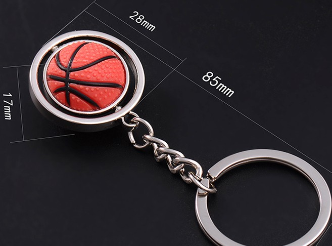 Rotatable basketball keychain