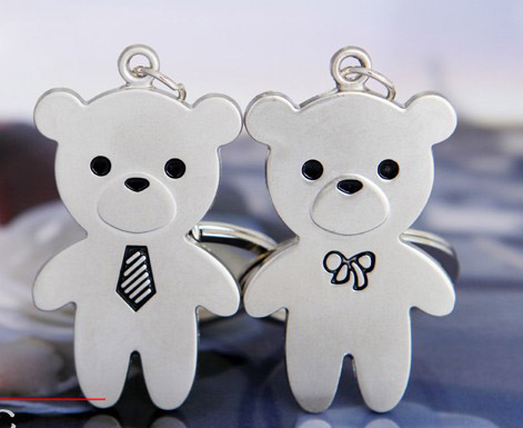 Bears with tie couple keychains