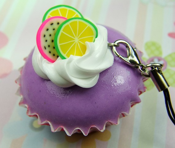 Cream chocolate egg tart keychain