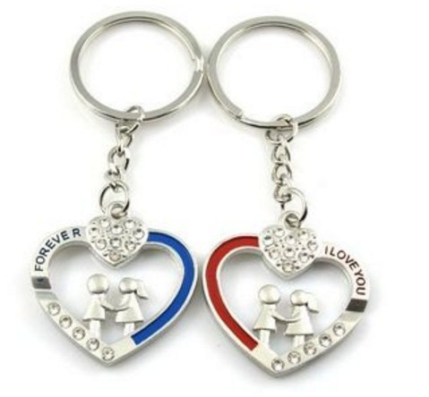 I love you rhinestone couple keychains