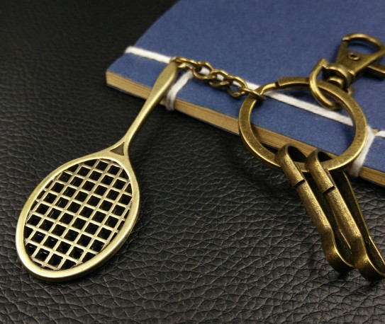 Bronze tennis racket keychain
