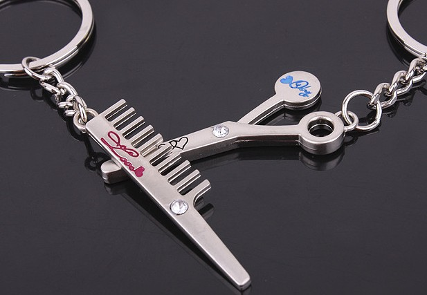 barber tools couple keychains