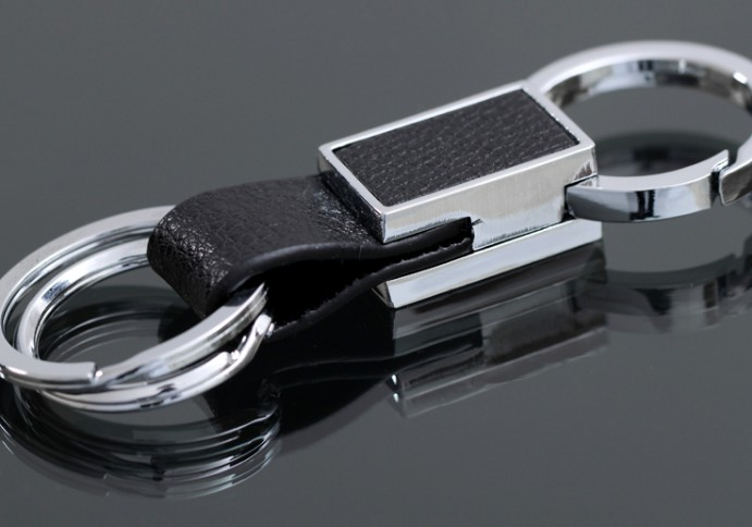 Double ring leather keychain