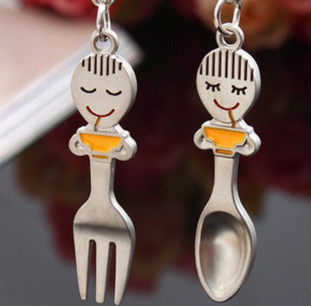 Fork and spoon Couple Keychains