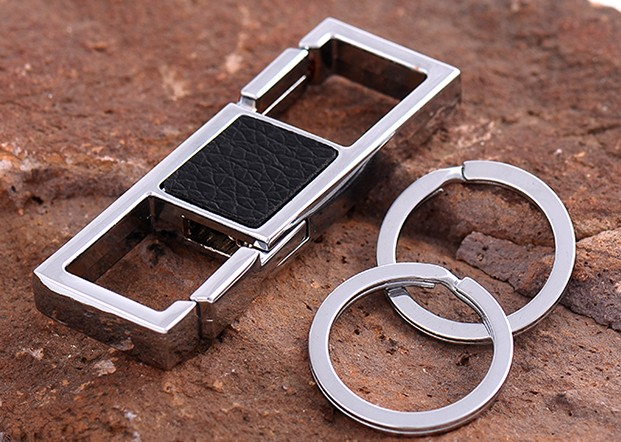 Classic double ring alloy keychain