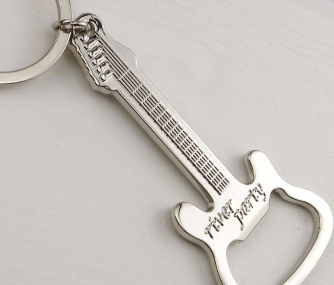 Metal guitar bottle opener keychain