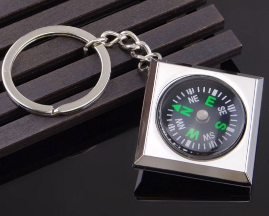 Square compass keychain