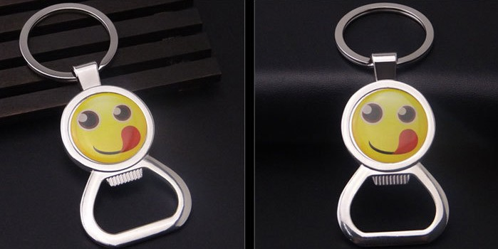 smiling face bottle opener keychain