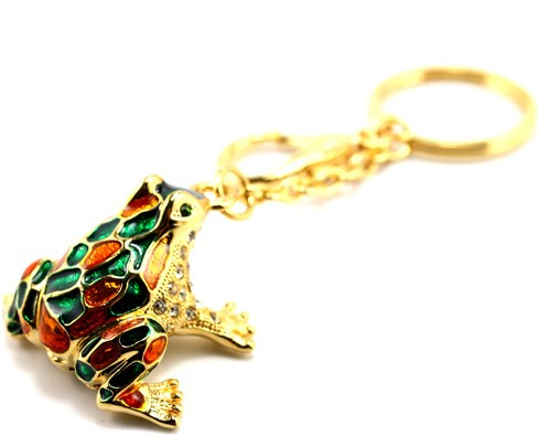 Beautiful Rhinestone Frog Keychain
