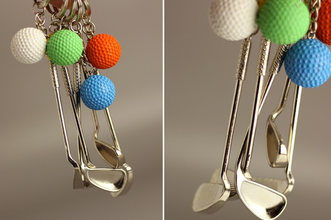 Golf club and golf ball keychain