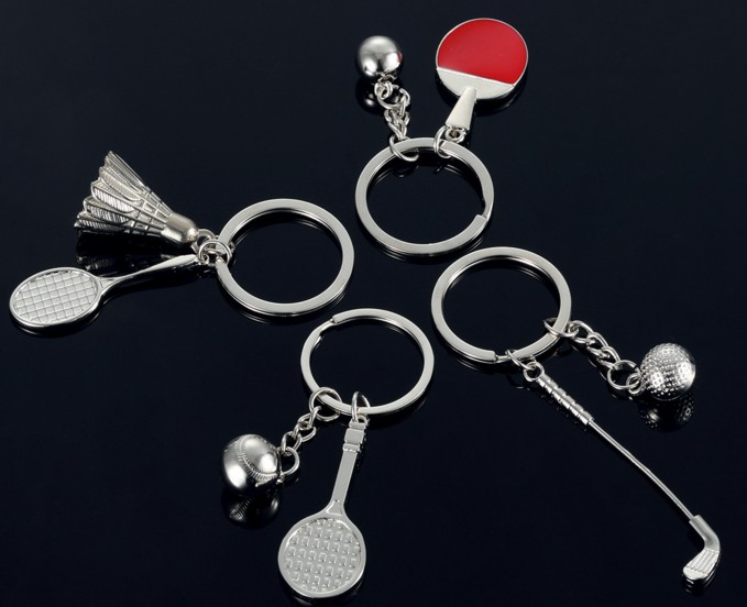 Golf club and ball alloy keychain