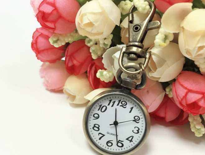 Retro Stainless Steel clock Keychain