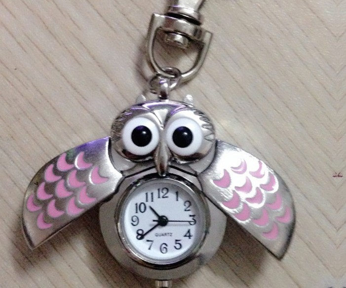 Silver Owl Watch Keychain