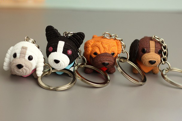 Wool dog keychain