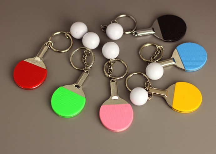Table tennis alloy keychain