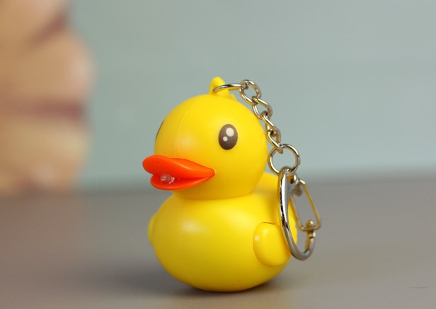 Yellow duckling LED keychain