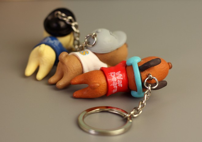Bamboo charcoal dog keychain
