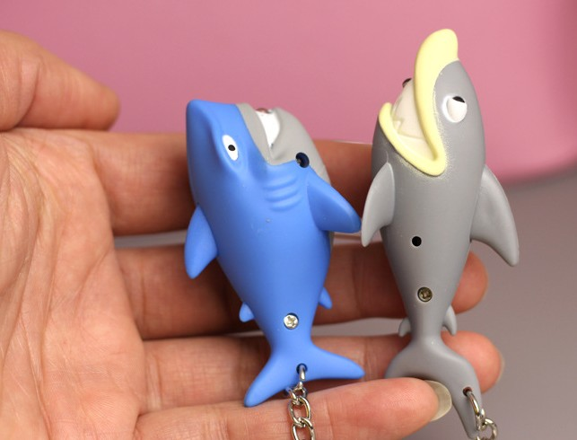 Cartoon shark LED keychain
