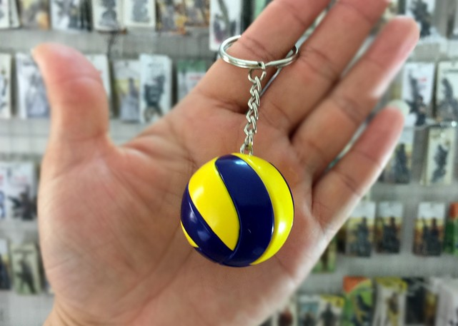 Leather volleyball keychain