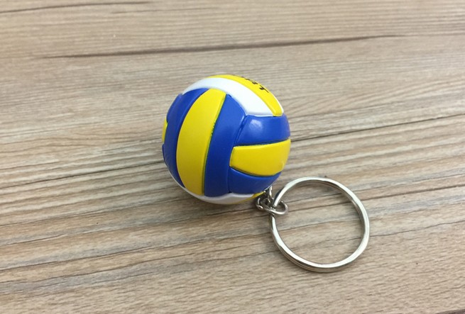 PVC volleyball keychain