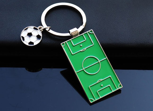 Football field and football alloy keychain