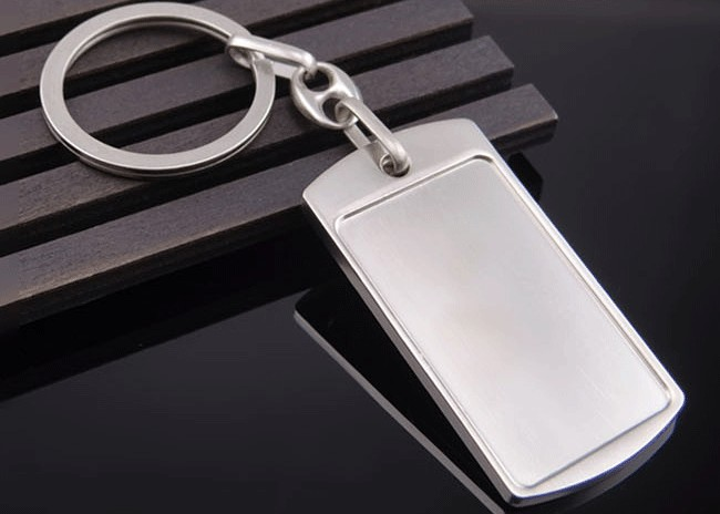 Rectangular metal plate keychain