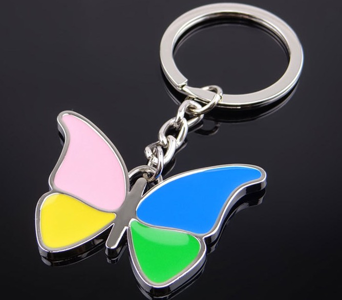 Four-color butterfly alloy keychain