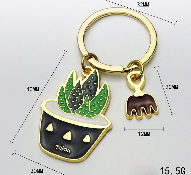 Potted alloy keychain