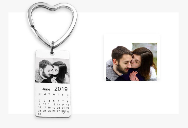Rectangular photo calendar keychain