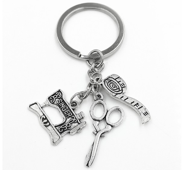 Sewing machine scissors ruler alloy keychain