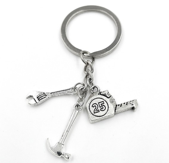 Wrench hammer ruler alloy keychain